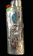 Load image into Gallery viewer, Turquoise & Coral sterling silver lighter case