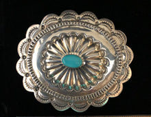 Load image into Gallery viewer, Turquoise sterling silver belt buckle