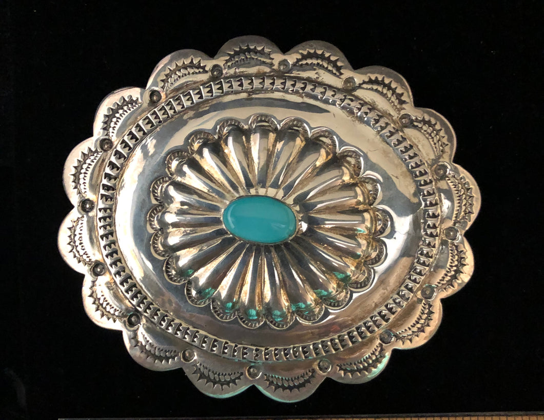 Turquoise sterling silver belt buckle