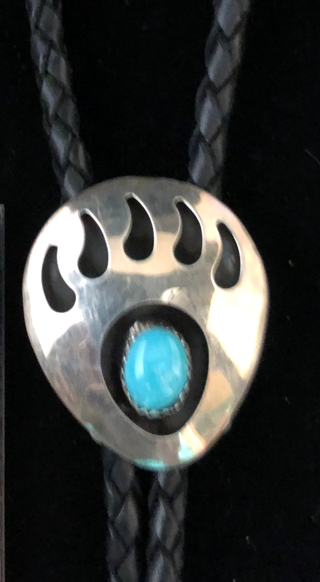 Turquoise sterling silver bear paw bolo