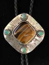Load image into Gallery viewer, Tiger eye and turquoise sterling silver bolo
