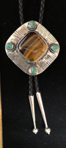 Tiger eye and turquoise sterling silver bolo