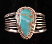 Load image into Gallery viewer, Turquoise sterling silver cuff bracelet