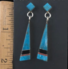 Load image into Gallery viewer, Turquoise, coral & onyx sterling silver earrings