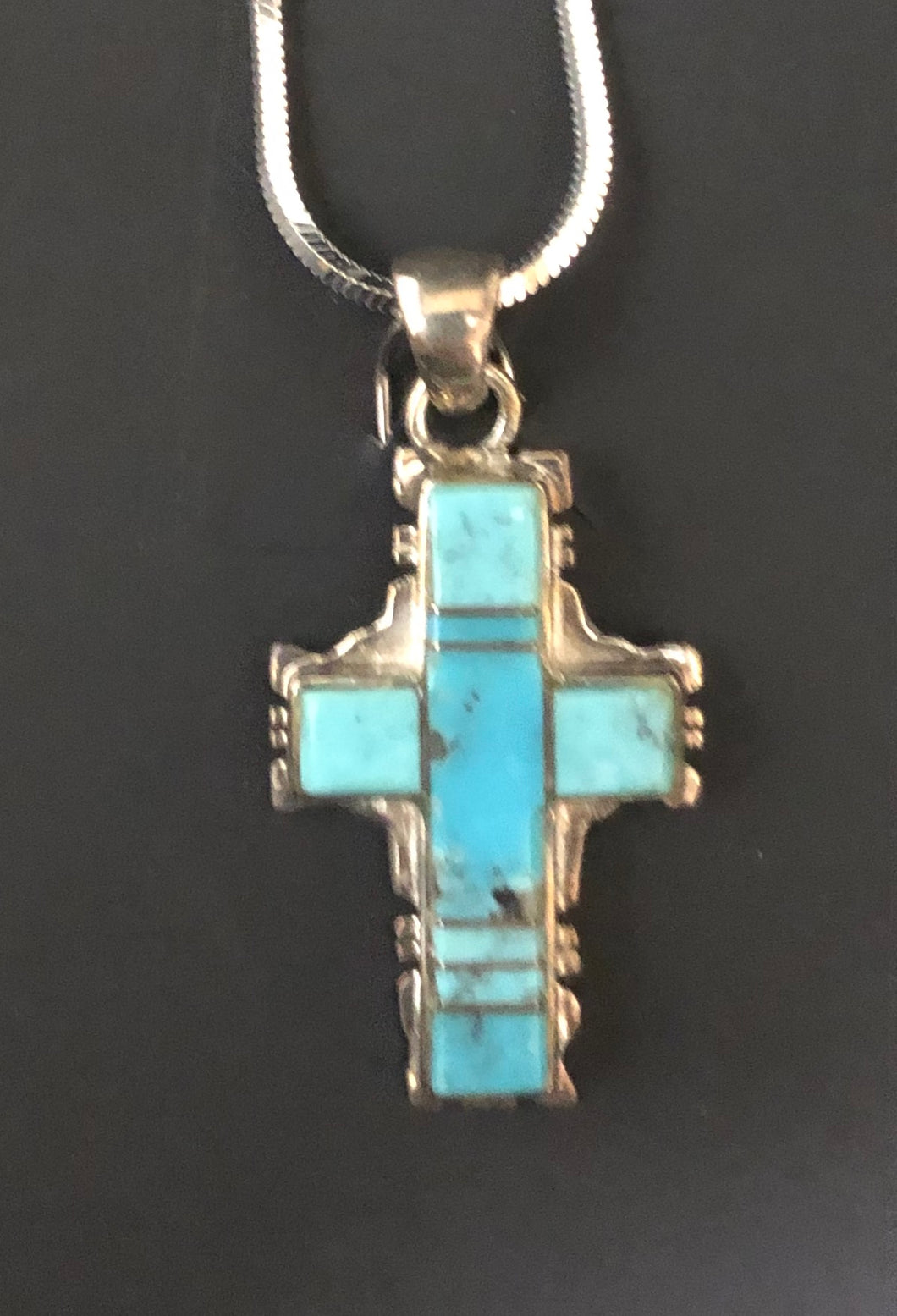 Turquoise sterling silver inlay cross necklace