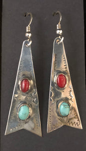 Turquoise & coral sterling silver earrings