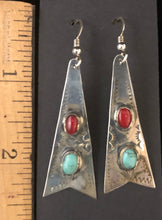 Load image into Gallery viewer, Turquoise & coral sterling silver earrings
