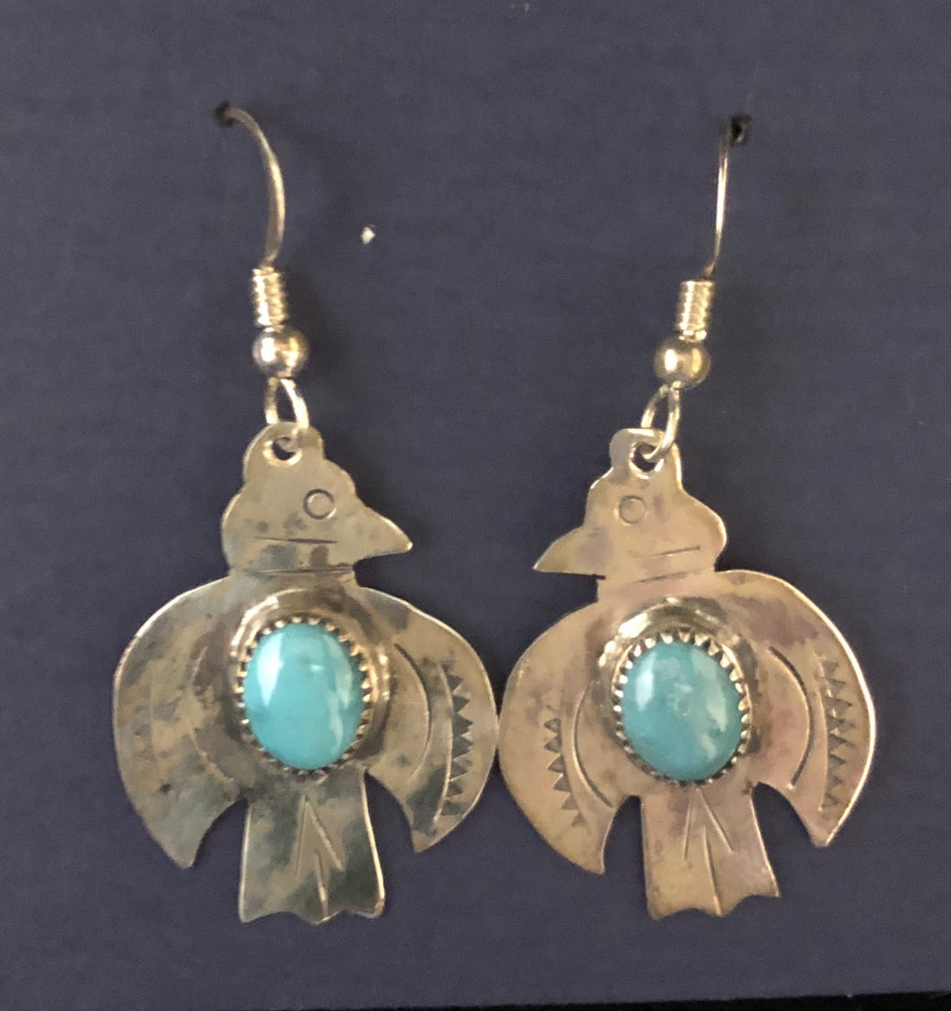 Turquoise sterling silver Thunderbird earrings
