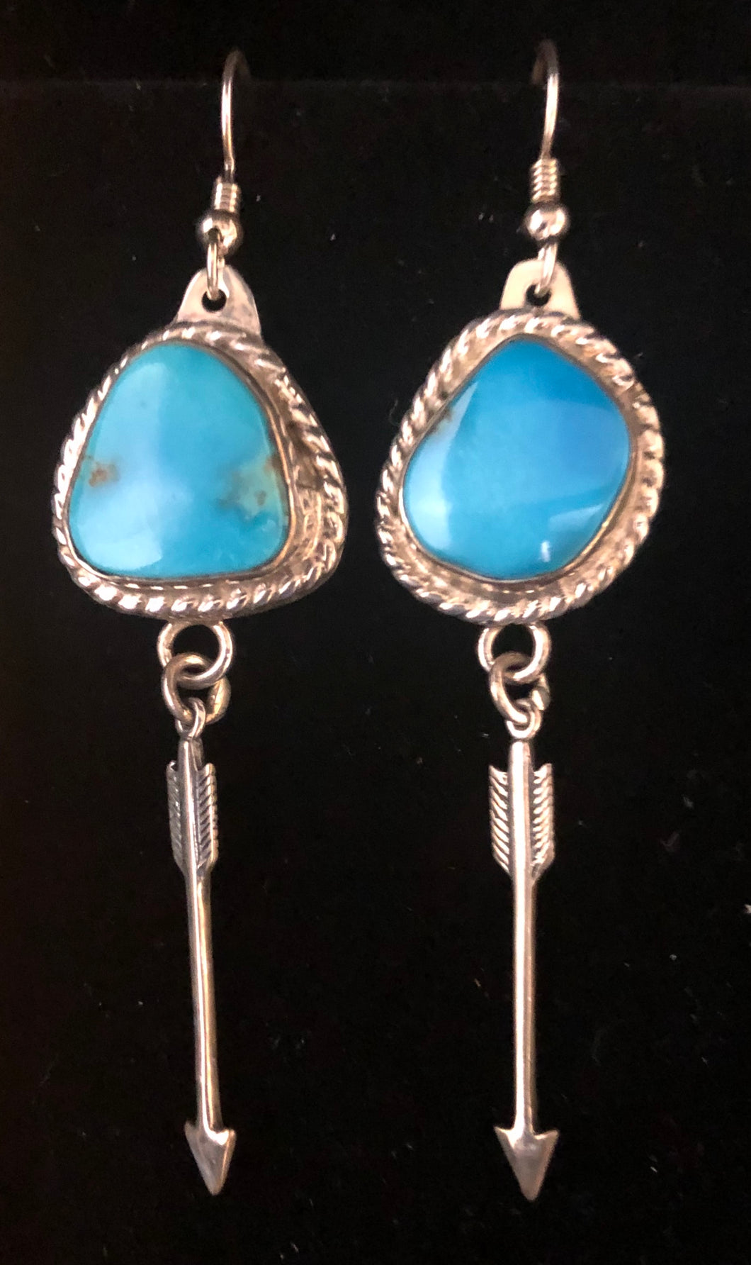 Turquoise Sterling silver arrow earrings