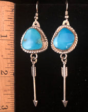 Load image into Gallery viewer, Turquoise Sterling silver arrow earrings