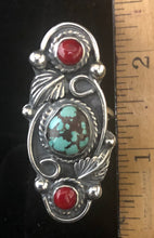 Load image into Gallery viewer, Turquoise & Coral sterling silver ring