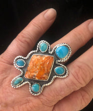 Load image into Gallery viewer, Spiny Oyster & Turquoise sterling silver turtle ring