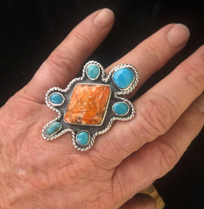 Spiny Oyster & Turquoise sterling silver turtle ring