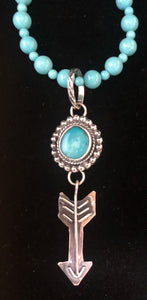 Turquoise & arrow sterling silver pendant