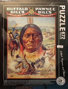 Puzzle of Buffalo Bill's Wild West and Pawnee Bill's Far East promotional advertisement