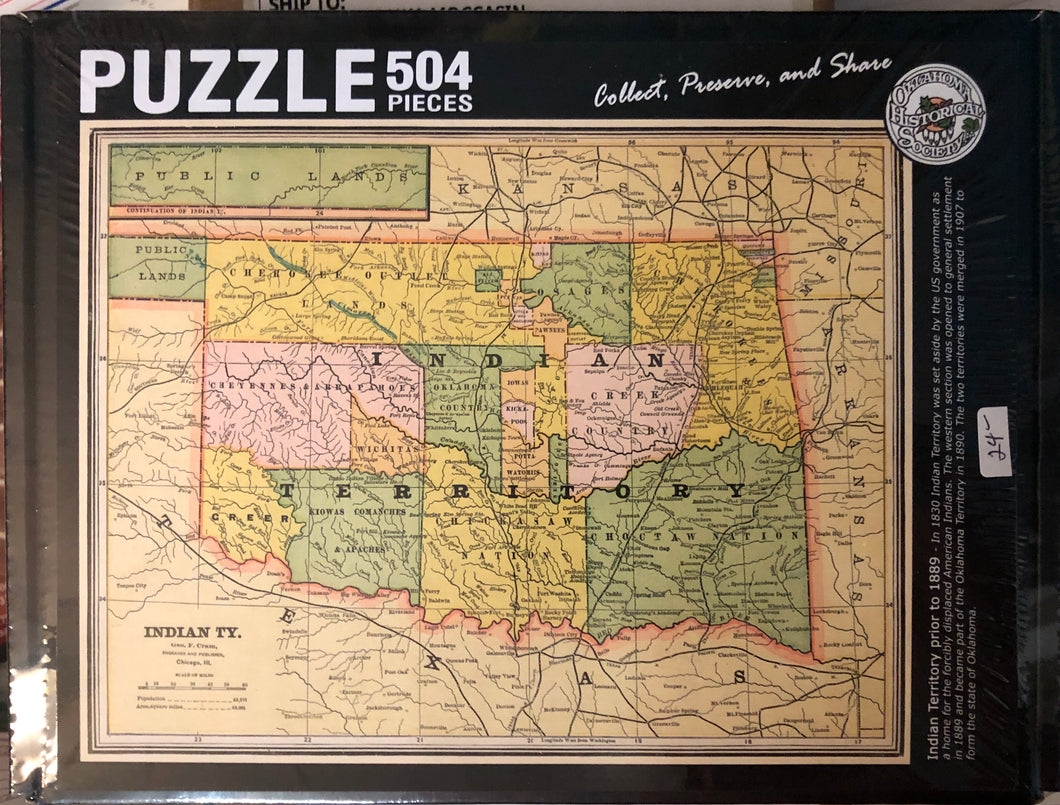 Puzzle of map of Indian Territory prior to 1889