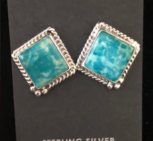 Load image into Gallery viewer, Turquoise square cut sterling silver earrings