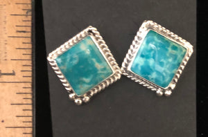 Turquoise square cut sterling silver earrings