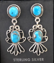 Load image into Gallery viewer, Turquoise sterling silver filigree earrings
