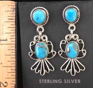 Turquoise sterling silver filigree earrings