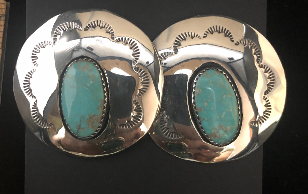 Turquoise shadowbox sterling silver earrings