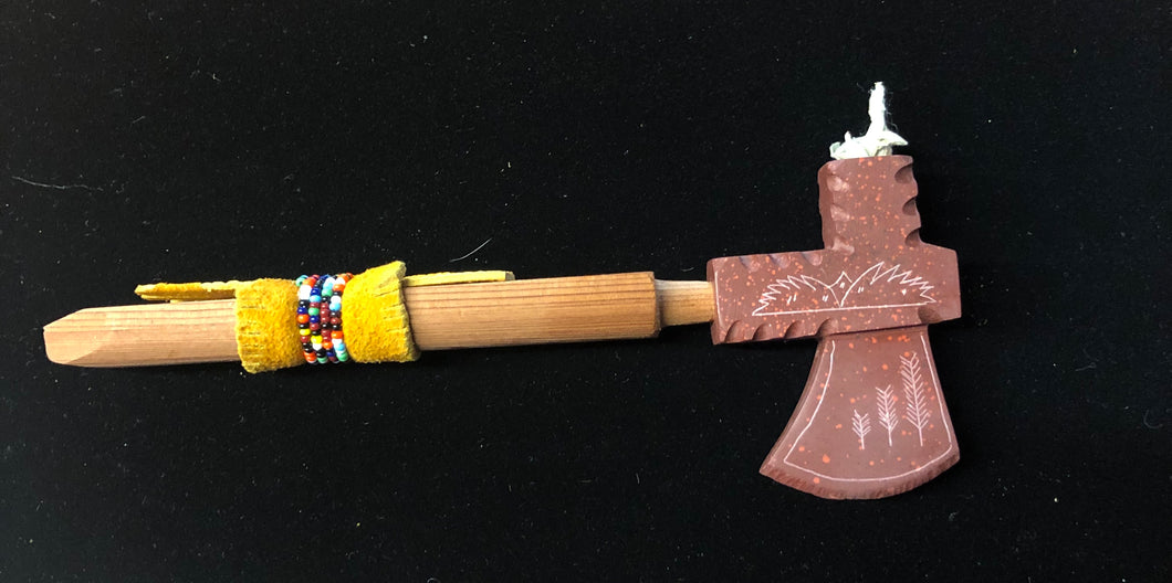 Red Tomahawk Pipe with beaded stem