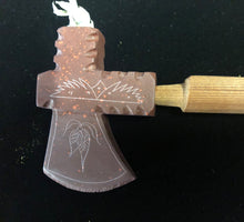 Load image into Gallery viewer, Red Tomahawk Pipe with beaded stem