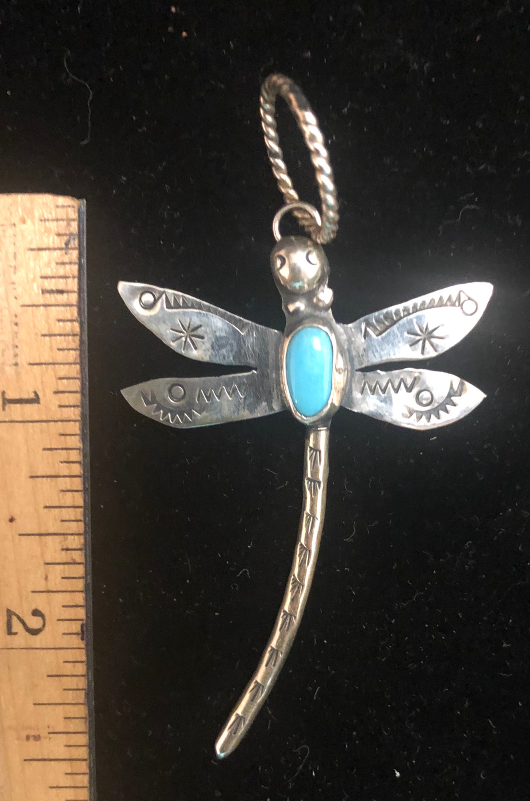Dragonfly with turquoise sterling silver pendant