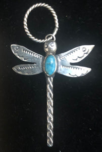 Turquoise sterling silver dragonfly pendant