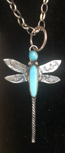 Turquoise sterling silver dragonfly necklace