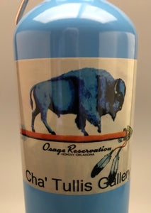 Osage Reservation aluminum water bottle with blue buffalo