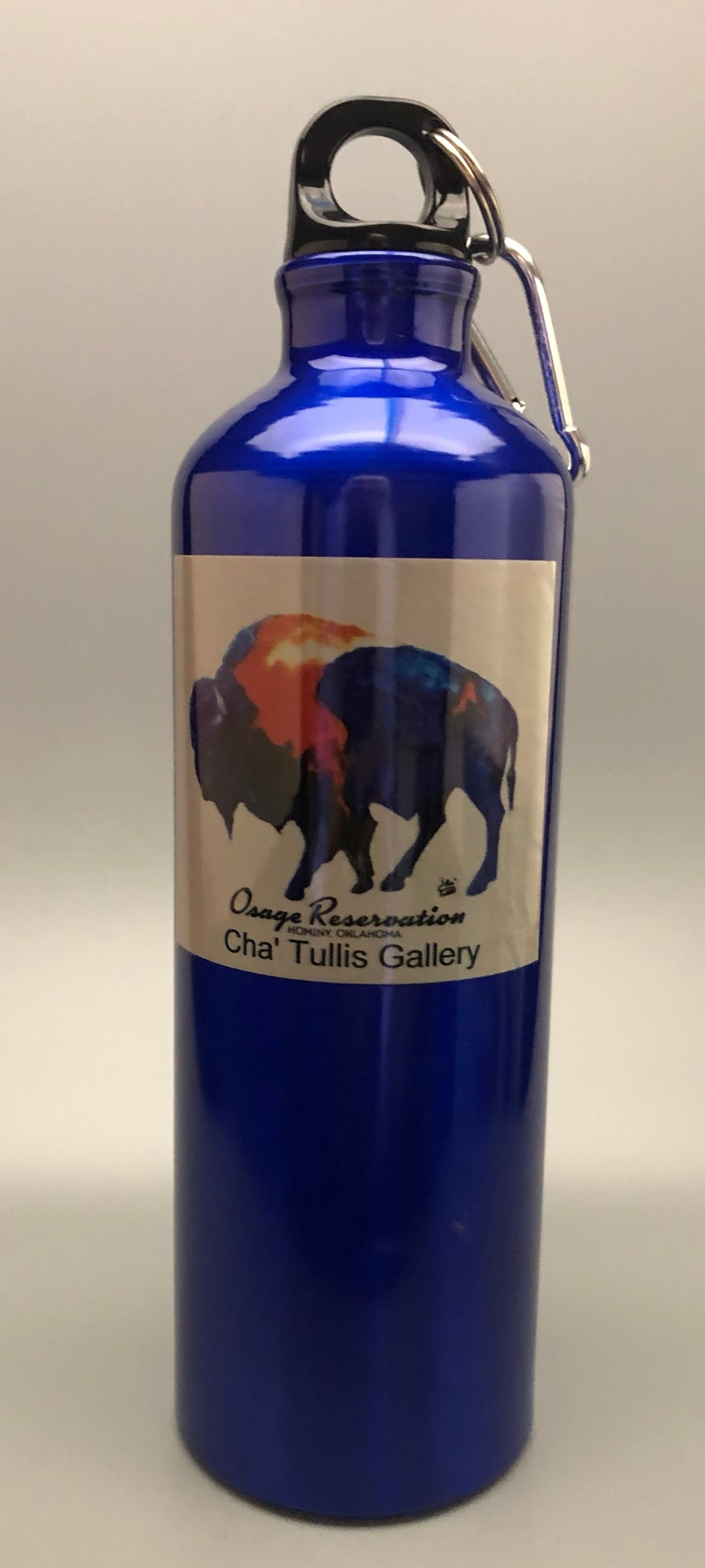 Osage Reservation aluminum water bottle with multi color buffalo