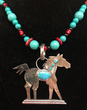 Load image into Gallery viewer, Turquoise and Silver Proud Pony necklace