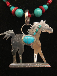 Turquoise and Silver Proud Pony necklace