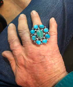 Nine Turquoise stone sterling silver ring
