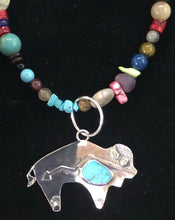 Load image into Gallery viewer, Turquoise sterling silver Buffalo necklace
