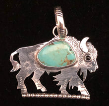 Load image into Gallery viewer, Turquoise sterling silver buffalo