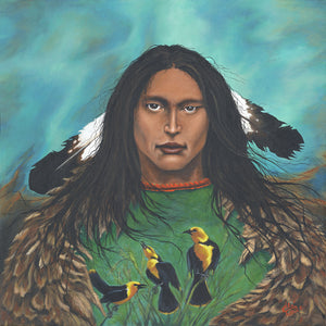 """Yellow Bird the Seer"" Giclee print on canvas"