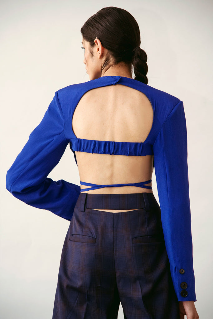 polite society blue silk sexy crop top UNDERWIRE WITH SHOULDER PADS AND LONG SLEEVES back view