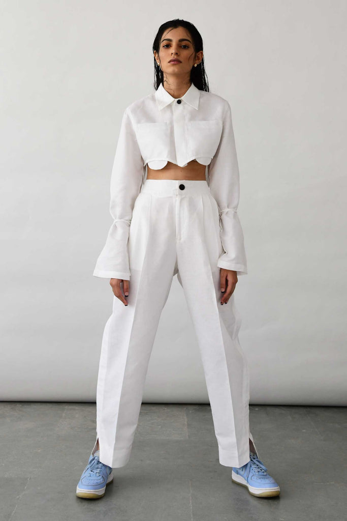 Polite Society white linen pants trousers front view