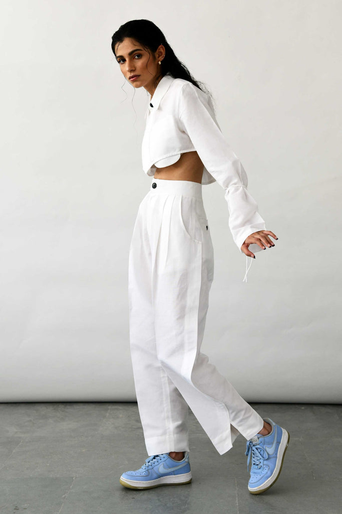Polite Society white linen pants trousers side view
