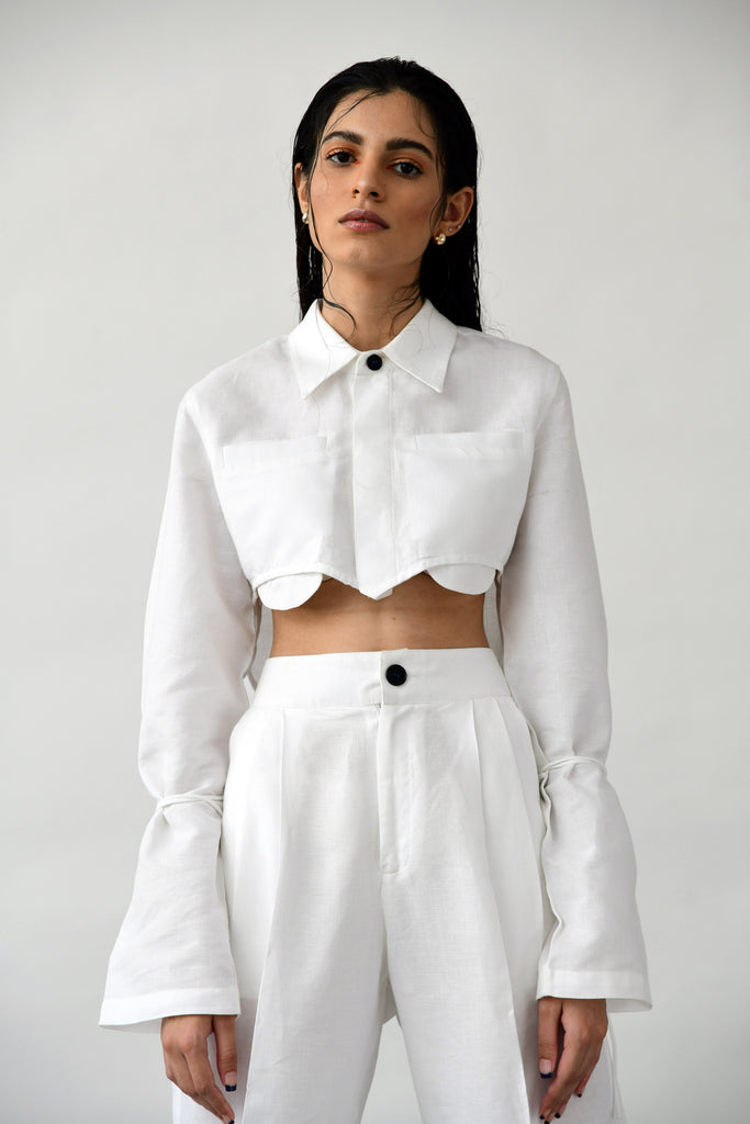 polite society white cropped linen shirt with full sleeves and long ties front view