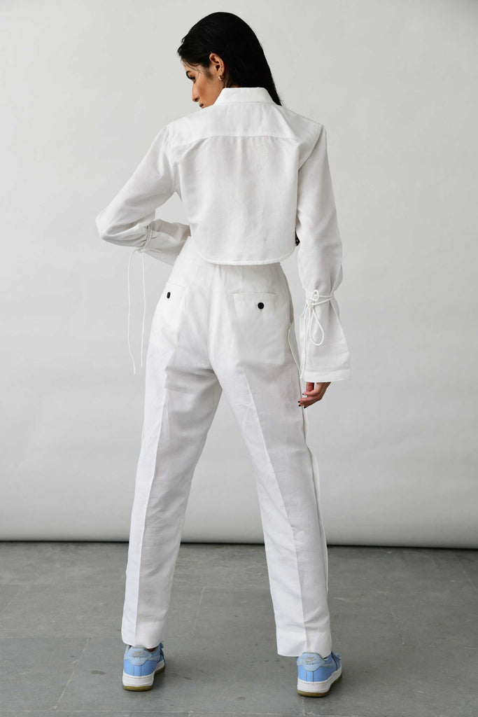 Polite Society white linen pants trousers back view