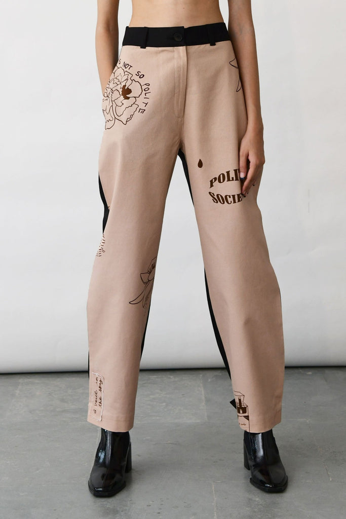 polite society STRAIGHT LEG contrast jeans with PRINTED FRONT AND A CONTRAST BLACK BACK front view