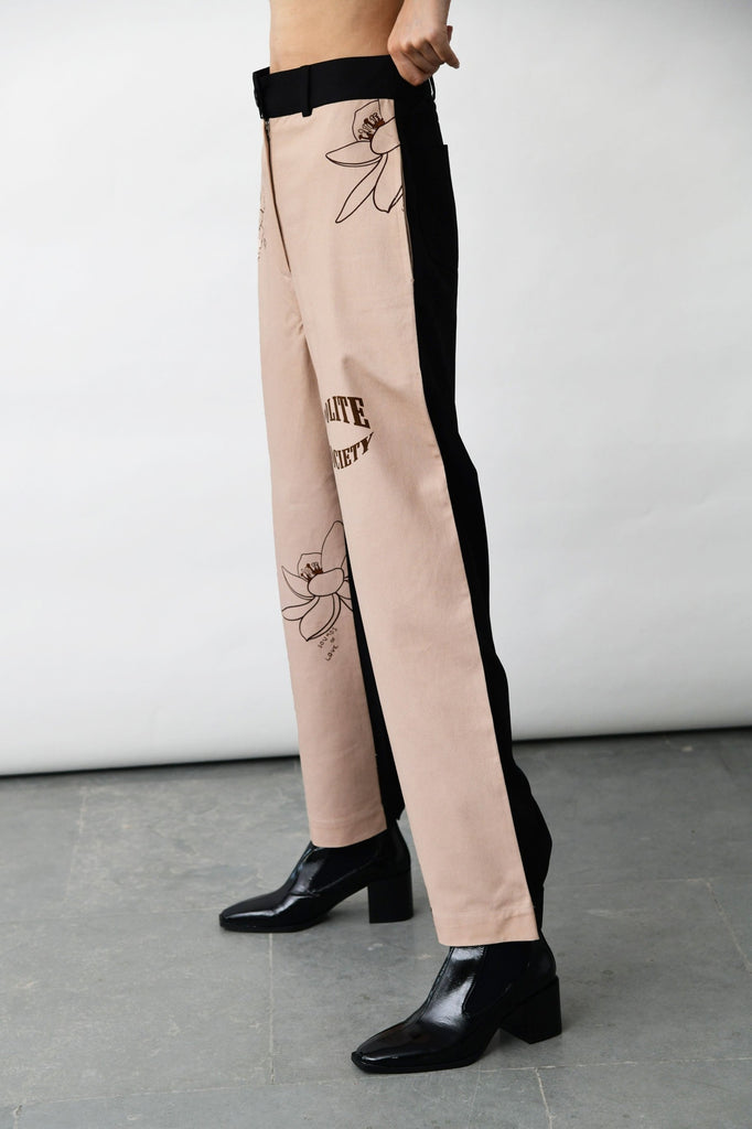 polite society STRAIGHT LEG contrast jeans with PRINTED FRONT AND A CONTRAST BLACK BACK side view