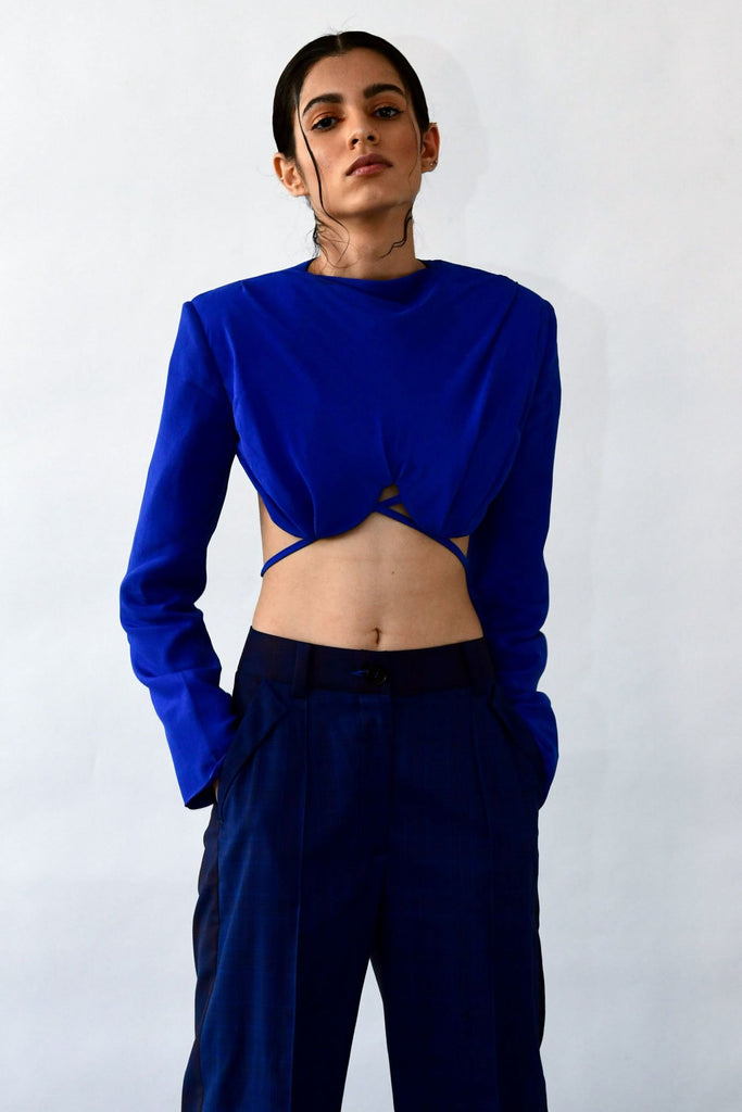 polite society blue silk sexy crop top UNDERWIRE WITH SHOULDER PADS AND LONG SLEEVES front view