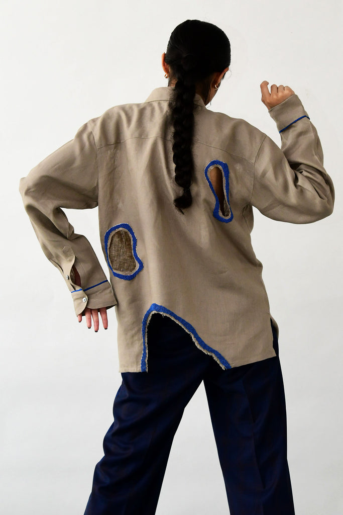 polite society ALGAE EMBROIDERED linen full sleeved SHIRT WITH CONTRAST COBALT BLUE HAND BEADING AND CUTWORK back view