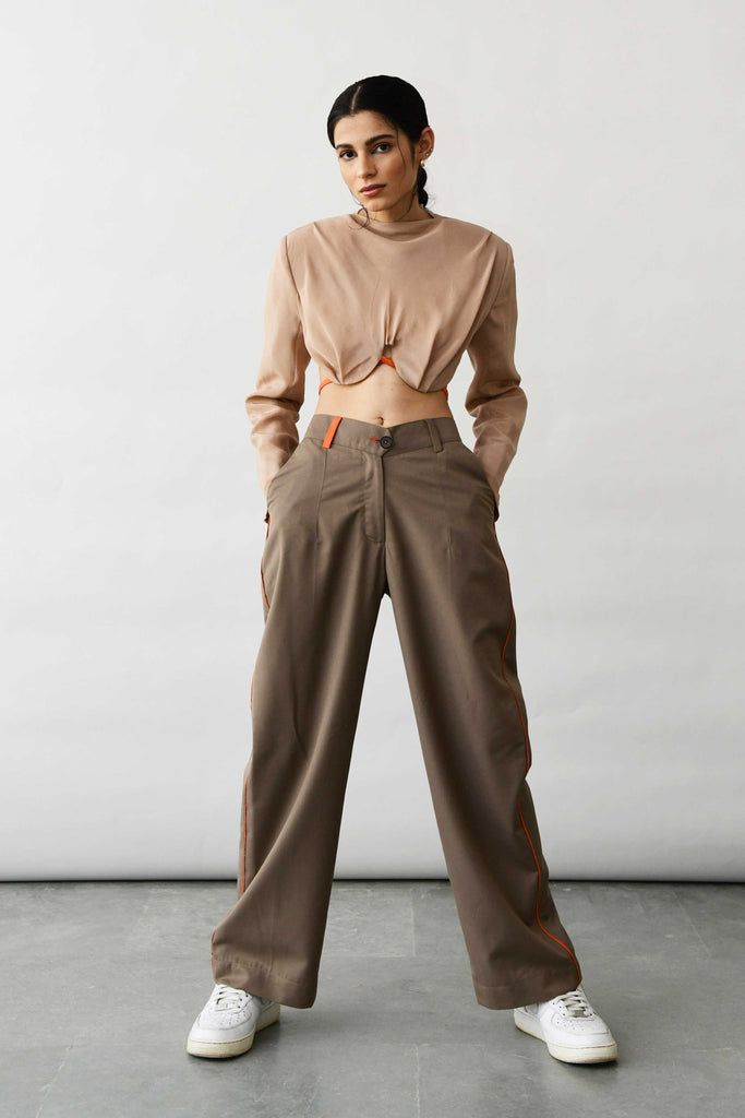 polite society brown and orange pants trousers front view