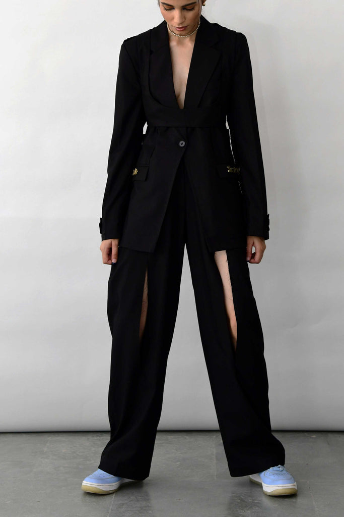 polite society FRONT SLIT black STRAIGHT LEG TROUSERS front view