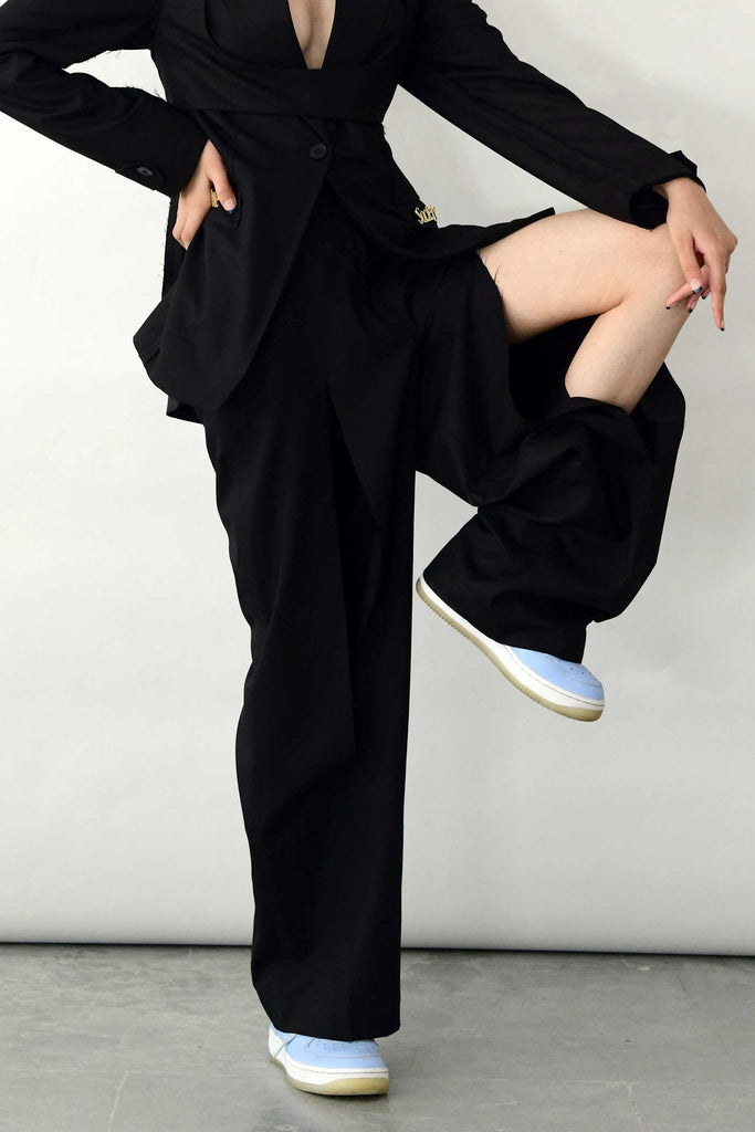 polite society FRONT SLIT black STRAIGHT LEG TROUSERS details